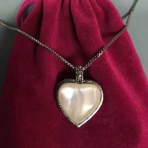 Jewelry - 2-Sided Heart Pendant w/ Marcasite Detail